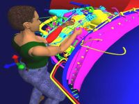 An image from the advanced computer aided engineering software illustrates how 'virtual world' technologies are used within the Northern Ireland Technology Centre at Queen's University.