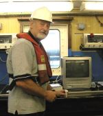 Dr Richard Briggs of the Aquatic Systems Group of the School of Agriculture and Food Science at Queen's University on one of the ships (RV Lough Foyle) used to deploy under water cameras to research the quantities of Dublin Bay prawns in the Irish Sea.