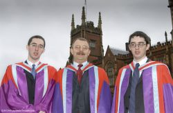 Identical twin brothers, Martin and John (right) Ludlow, are congratulated on their respective PhD degree awards from the Queen's University Schools of Biology and Biochemistry, and Mathematics and Physics by Professor James McElnay, Dean of the Faculty of Science and Agriculture.