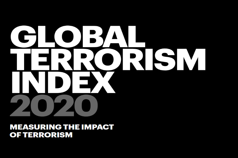 The image shows the full title of the report 'Global Terrorism Index 2020. Measuring the Impact of Terrorism'.