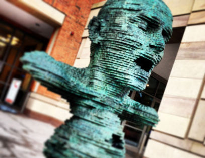 Eco statue outside the McClay Library