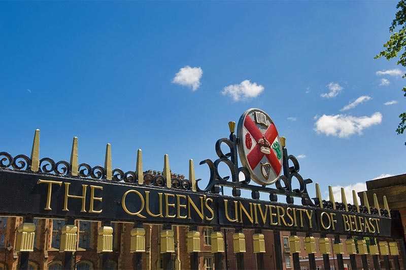 Queen's crest on the main entrance gates