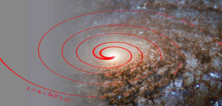 A distant galaxy with formula and scientific diagram imposed