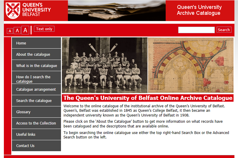 Screenshot of University Archive catalogue homepage.