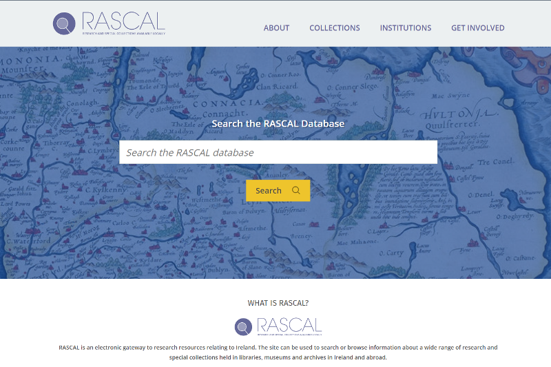 Screenshot of the Special Collections RASCAL site