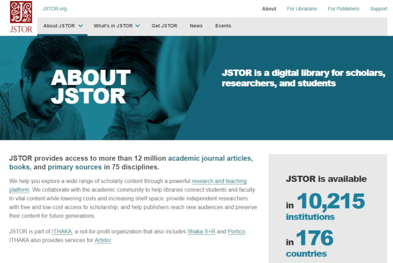 Homepage of JStor Ireland Collection.