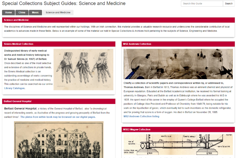 screenshot of Special Collections Subject Guides homepage