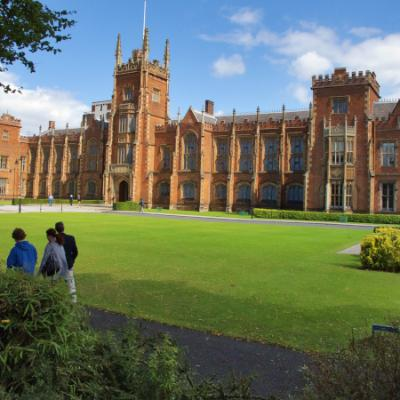 Students walking past the front of the Lanyon Building, Queen's University Belfast