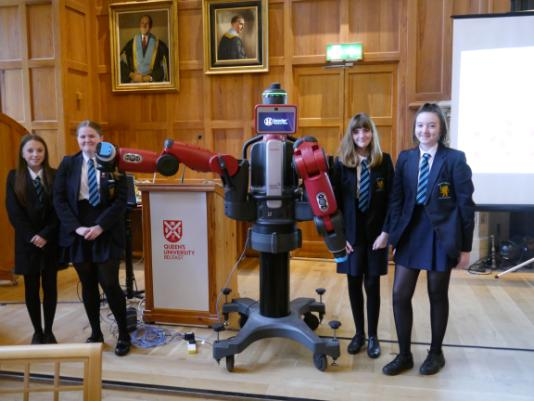 Bangor Academy with Baxter the robot after their engineering workshop.