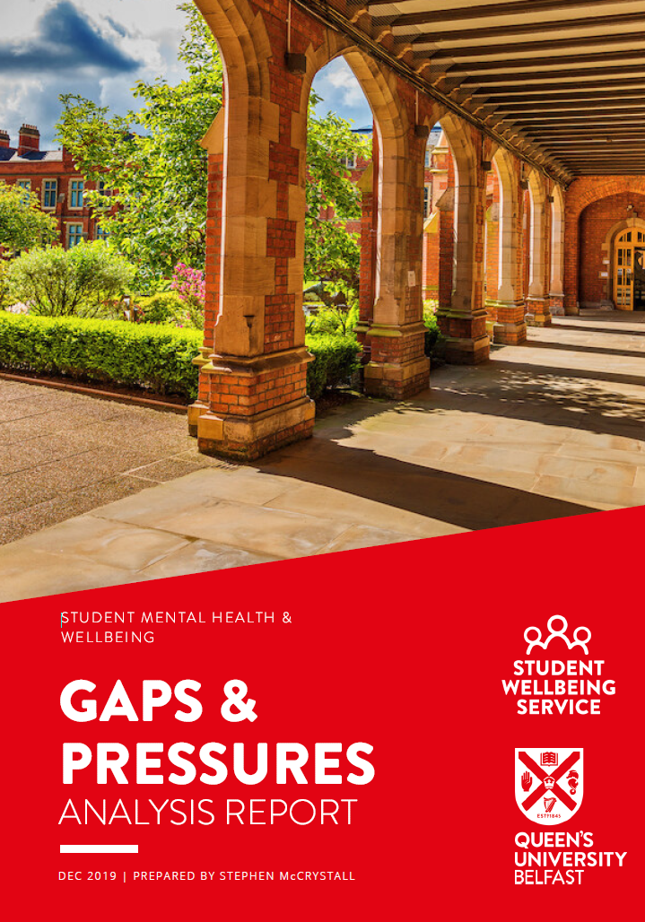 Front cover of Gaps & Pressures Analysis Report. Shows the cloisters of the Lanyon Building.