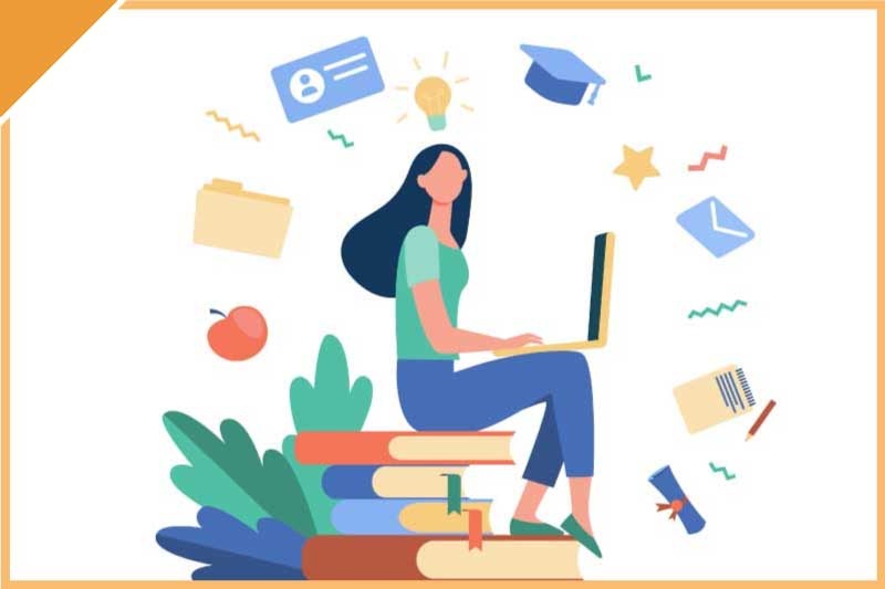 Vector image of girl sitting on books with laptop. Digital Glossary Thumbnail