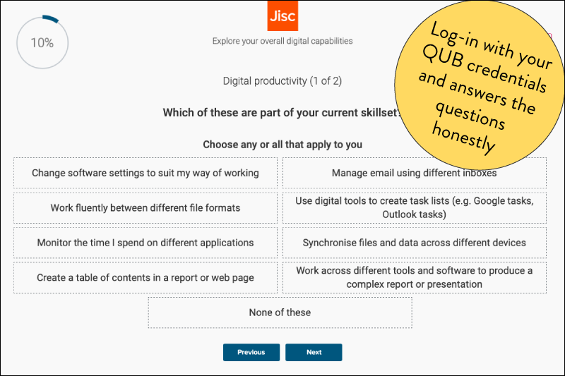 Screenshot of an audit question from the Jisc Discovery Tool.