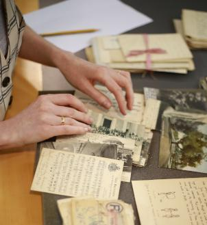 Close of hands looking through postcards from the Sir Robert Collection