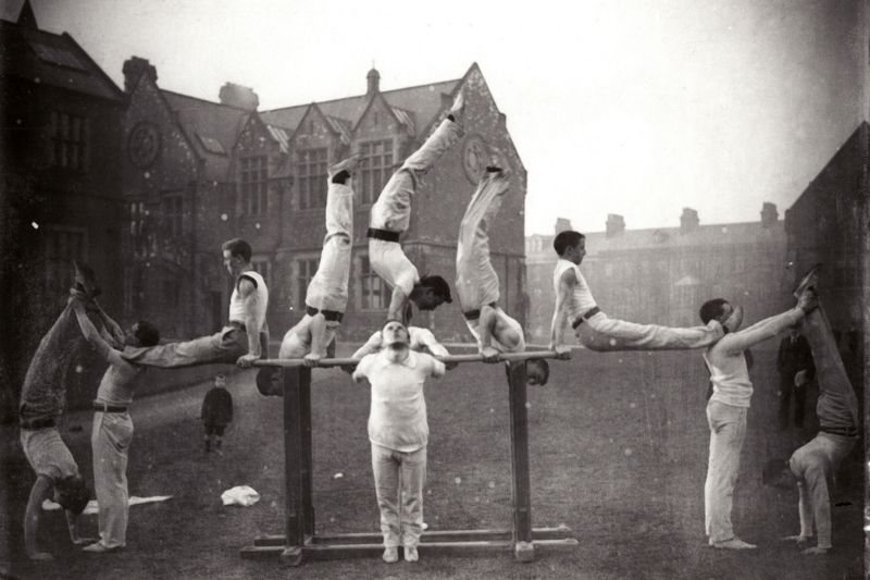 Men doing gymnastics