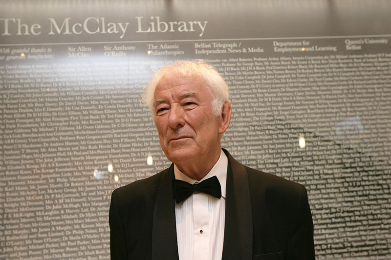 Seamus Heaney in the McClay library