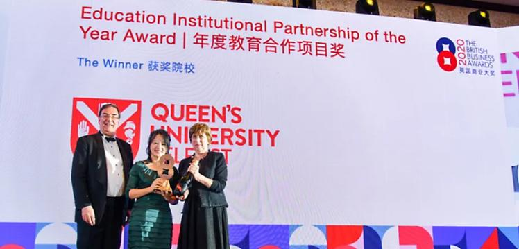 Catherine Li accepting UCEER award in China, October 2020