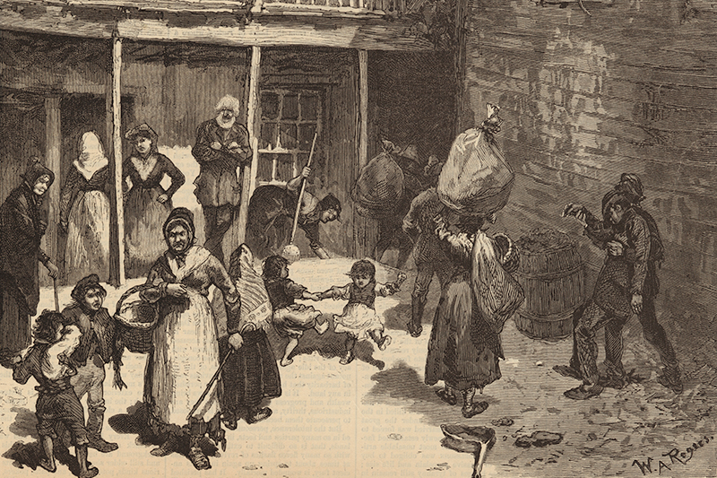 Black and white drawing of women
