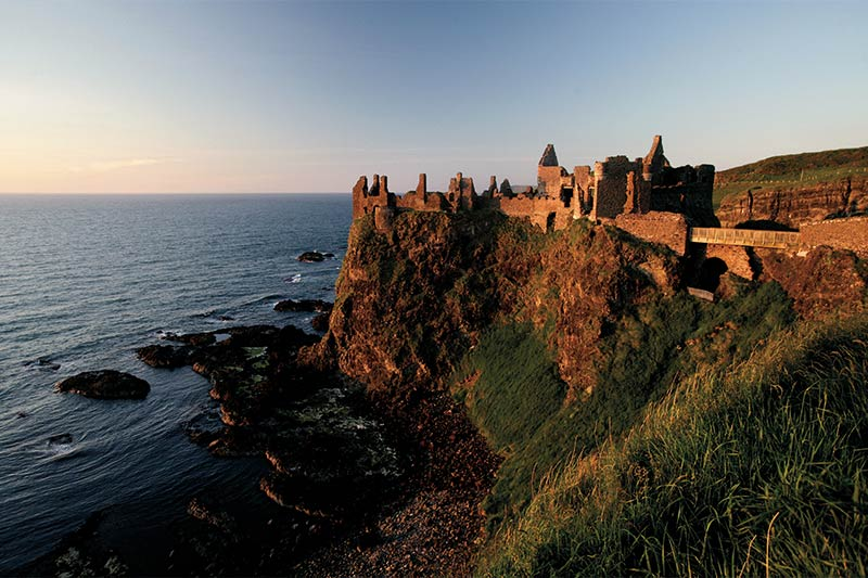 Dunluce Castle during the sunset