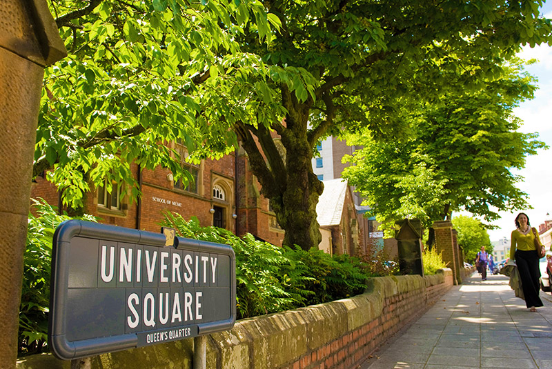 University Square road sign with footpath in the background