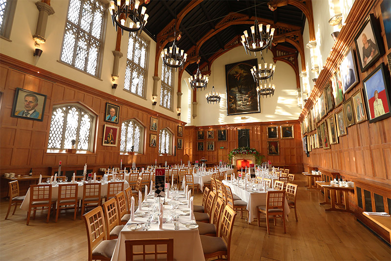 The great hall set up for a banquet