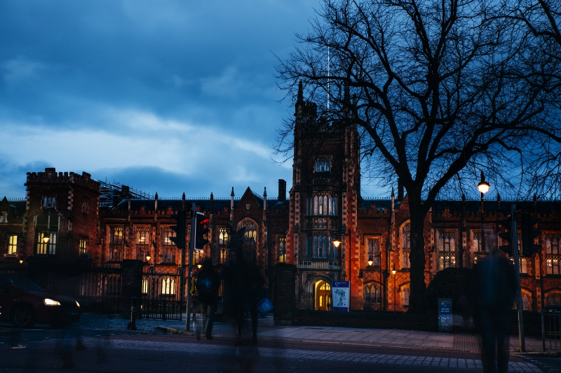 Lanyon building at night time from across University road with tree in the foreground