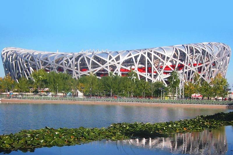 The Birds Nest Olypmic stadium in Beijing