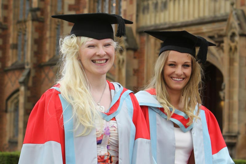 Paralympic skier and gold medal winner, Kelly Gallagher, and her guide, Charlotte Evans, attending their honorary graduation
