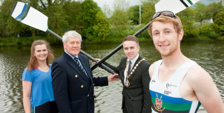 Launching 2016 University Boat Race at Queen's new £1.2M Boathouse on the River Lagan are Deputy Lord Mayor of Belfast Alderman Guy Spence, Ellie Holmes, Captain, Queen's Senior Ladies and Jason Armstrong, Captain, Queen's Senior Men's crew, along with Des Hill, Past President of Trinity Rowing Club.