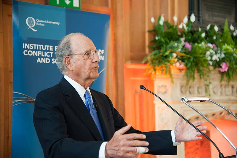 Senator George J. Mitchell giving a speech at the opening of the institute FOR GLOBAL PEACE, SECURITY AND JUSTICE