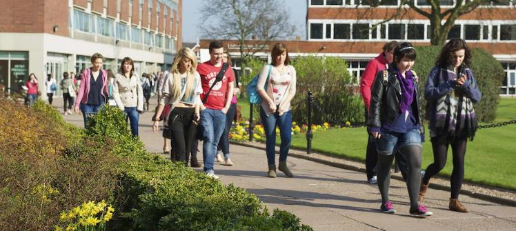Students walking through quad