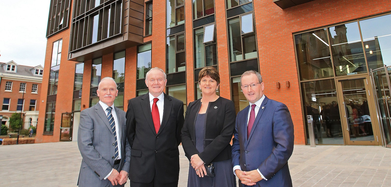 Queen's School of Law opening: Registrar and Chief Operating Officer James O'Kane, deputy First Minister Martin McGuinness, the First Minister Arlene Foster and Queen's Vice-Chancellor Professor Patrick Johnston