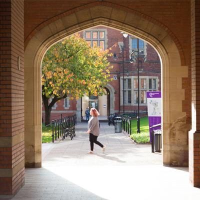 student through archway
