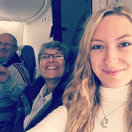 Plane journey to Belfast with parents