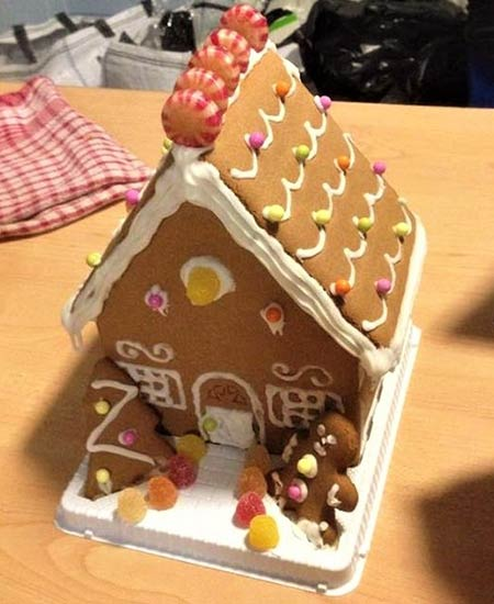 A gingerbread house made by Meg and her friends