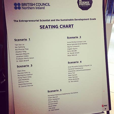 Seating chart for the Entreprenuerial Scientist and Sustainable development Goals event at the Northern Ireland Science Festival