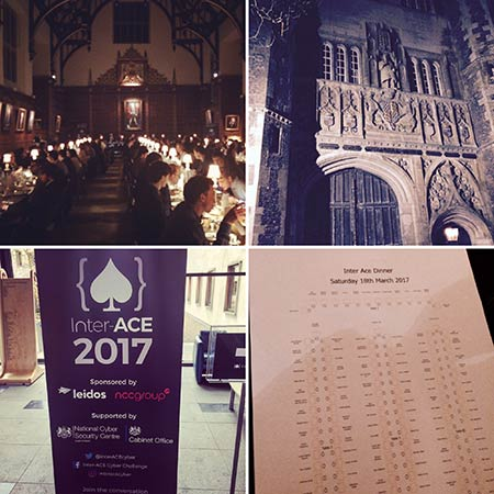 Collage of photos from the inter-ace event at Cambridge