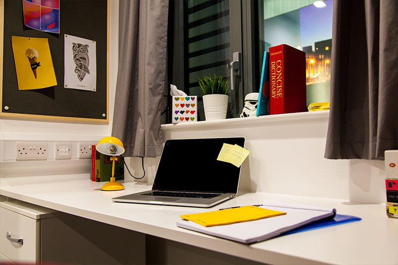 a work space within a new city centre apartment bedroom