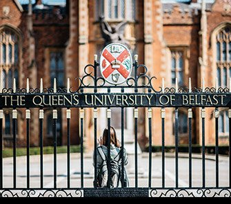 PHOTO: Gates to Queen's University Lanyon Building