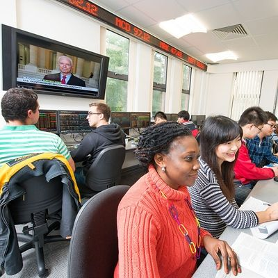 Students using the School of Management Trading Room