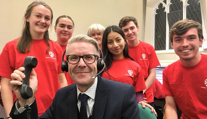 Student callers with Pro Vice Chancellor , who answers the phone