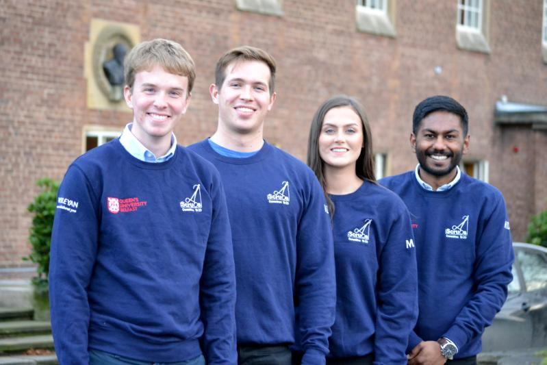 Scrubs society pose in matching jumpers