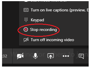 MS Teams screengrab showing how to stop recording a meeting