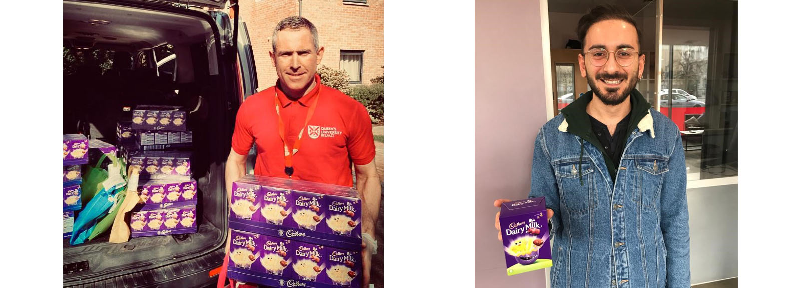 Staff buying Easter eggs and a student with an Easter egg