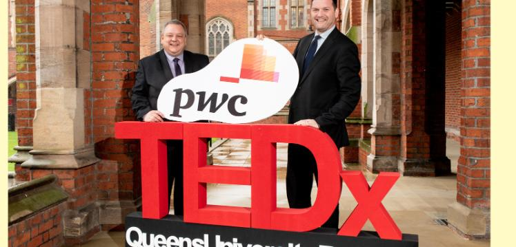 Caption: John Astley (left), Managing Director at PwC's Operate is pictured with Alistair Stewart, Head of Public Engagement, Queen's University Belfast, ahead of the Univeristy's digital TEDx event on 10 June. Entitled 'Adapt and Change', the event offers informed opinion pieces and reflections on the changes taking place all around us a result of the global COVID-19 pandemic.