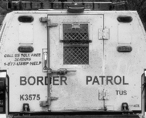 US Border Patrol field transport vehicle,southern Arizona (2006) . Photo by Karl W. Hoffman reproduced with kind permission.