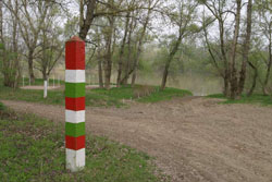 The spot of a long-forgotten ferry crossing on the river Tisza