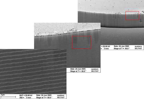 SEM image of ICP etched side wall