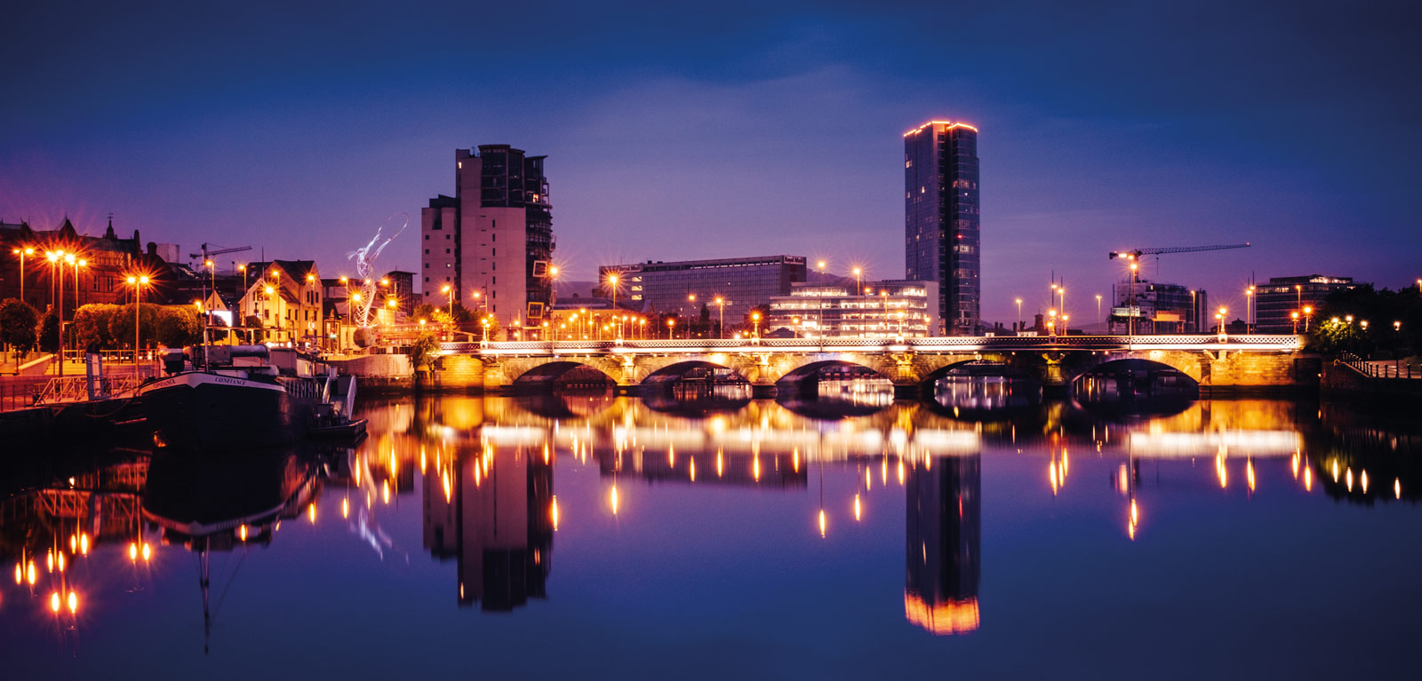 Belfast City - Illuminated, skyline at night