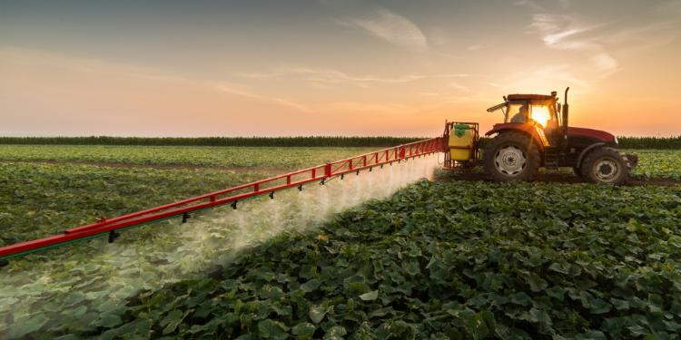 Tractor spraying a field of crops