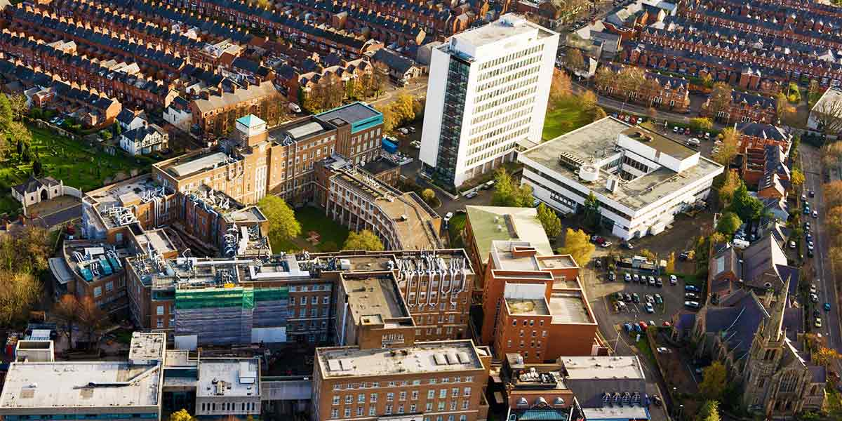 Arial view of the David Keir Building and the Ashby Building